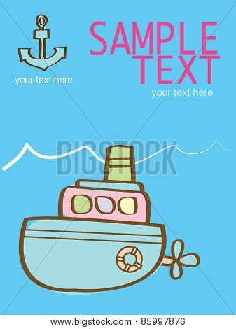 creative vector illustration with a pink submarine