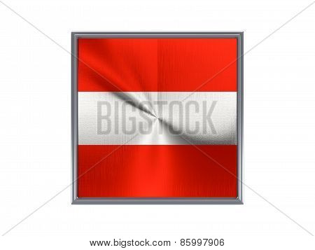 Square Metal Button With Flag Of Austria