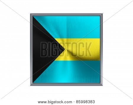 Square Metal Button With Flag Of Bahamas