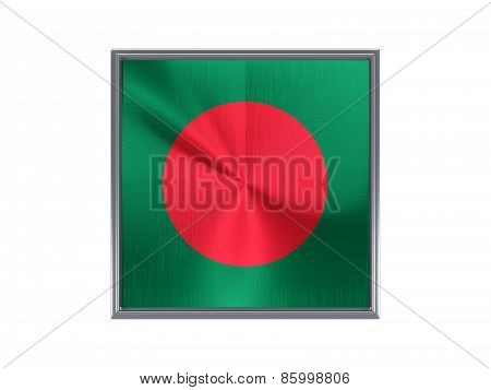 Square Metal Button With Flag Of Bangladesh