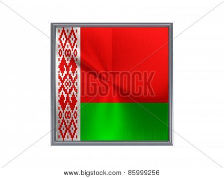 Square Metal Button With Flag Of Belarus