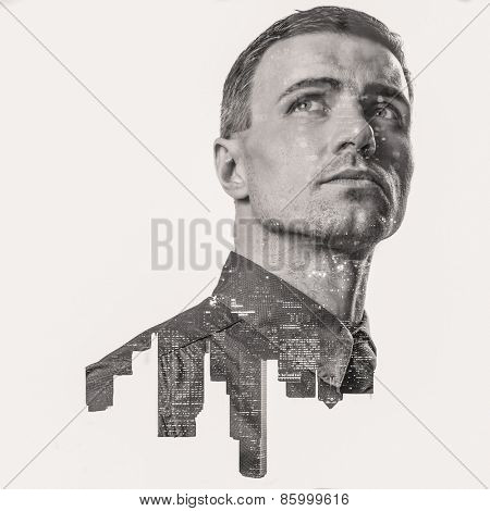 Double exposure of a city and professional businessman portrait looking up