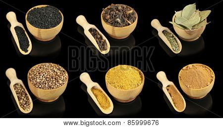 Collage of different spices in bowls on black background