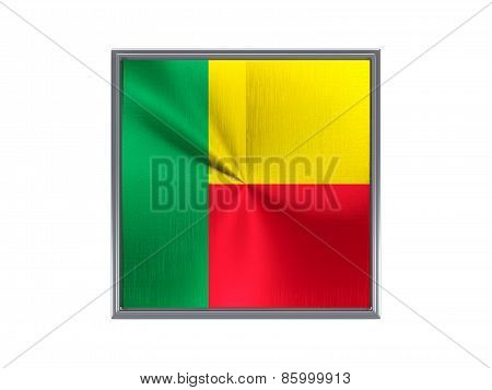Square Metal Button With Flag Of Benin