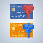 picture of gift wrapped  - Wrapped gift credit card with ribbon in flat style - JPG