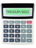 picture of treasury  - Calculator with TREASURY BILLS on display isolated on white background - JPG