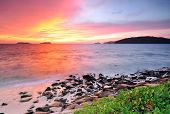 picture of malaysia  - Sunset at the beach in Kota Kinabalu Sabah Borneo Malaysia - JPG