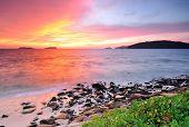 stock photo of malaysia  - Sunset at the beach in Kota Kinabalu Sabah Borneo Malaysia - JPG