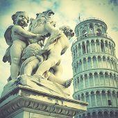 foto of putty  - La Fontana dei Putti Statue and Leaning Tower of Pisa - JPG