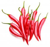 stock photo of cayenne pepper  - red chili or chilli cayenne pepper isolated on white  background cutout - JPG