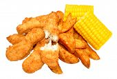 foto of sweet-corn  - Breaded chicken strips and potato wedges with sweet corn cobs isolated on a white background - JPG