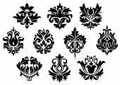 pic of embellish  - Black floral and arabesque elements in vintage style for embellishment and ornate - JPG