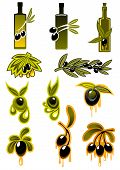 picture of oil drop  - Olives and olive oil icons with varying numbers of black olives entwined around the bottles - JPG