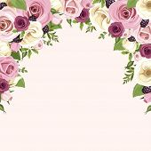 picture of white roses  - Vector background with pink and white roses and lisianthus flowers - JPG