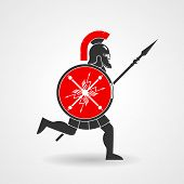 image of spears  - Ancient legionnaire warrior with spear and shield icon - JPG