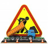 stock photo of truck-cabin  - Road construction concept with truck and cones on road - JPG