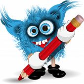 picture of tooth-fairy  - Illustration fairy shaggy blue monster with a Pencil - JPG