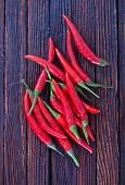 stock photo of chillies  - chilli peppers on the wooden table hot chilli - JPG