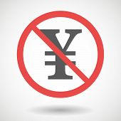 pic of yen  - Illustration of a forbidden signal with a yen sign - JPG