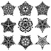 image of brocade  - set of vector graphic abstract  star and snowflakes ornamental designs - JPG