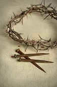 pic of crown-of-thorns  - Crown of thorns and nails over vintage cloth - JPG