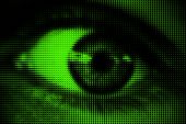 foto of black eyes  - Black and white halftone dotted eye on green background with radial blur - JPG
