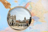 picture of lagos  - Looking in on Lagos Algarve Portugal with European map in the background - JPG