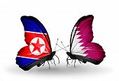 picture of qatar  - Two butterflies with flags on wings as symbol of relations North Korea and Qatar - JPG