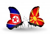 picture of macedonia  - Two butterflies with flags on wings as symbol of relations North Korea and Macedonia - JPG