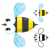 picture of bumble bee  - Children vector illustration with funny bee with simplified and monochrome variants - JPG
