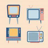 foto of tv sets  - retro tv items set - JPG