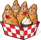 stock photo of dipping  - Four Crispy Golden Chicken Tenders Cartoon Characters in a Checkered Basket with Ranch Dipping Sauce - JPG