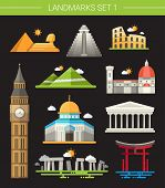 foto of world-famous  - Set of vector flat design famous world landmarks icons - JPG