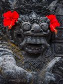 pic of stone sculpture  - Stone sculpture on entrance door of the Temple in Bali Indonesia - JPG