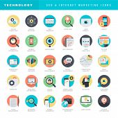 stock photo of internet icon  - Set of modern flat design SEO and internet marketing icons for graphic and web designers - JPG