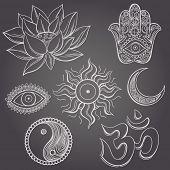 stock photo of jainism  - Spiritual symbols - JPG