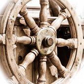 picture of ship steering wheel  - Yachting - JPG