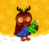 image of snow owl  - Childish Merry Christmas card with cartoon owl in vector - JPG