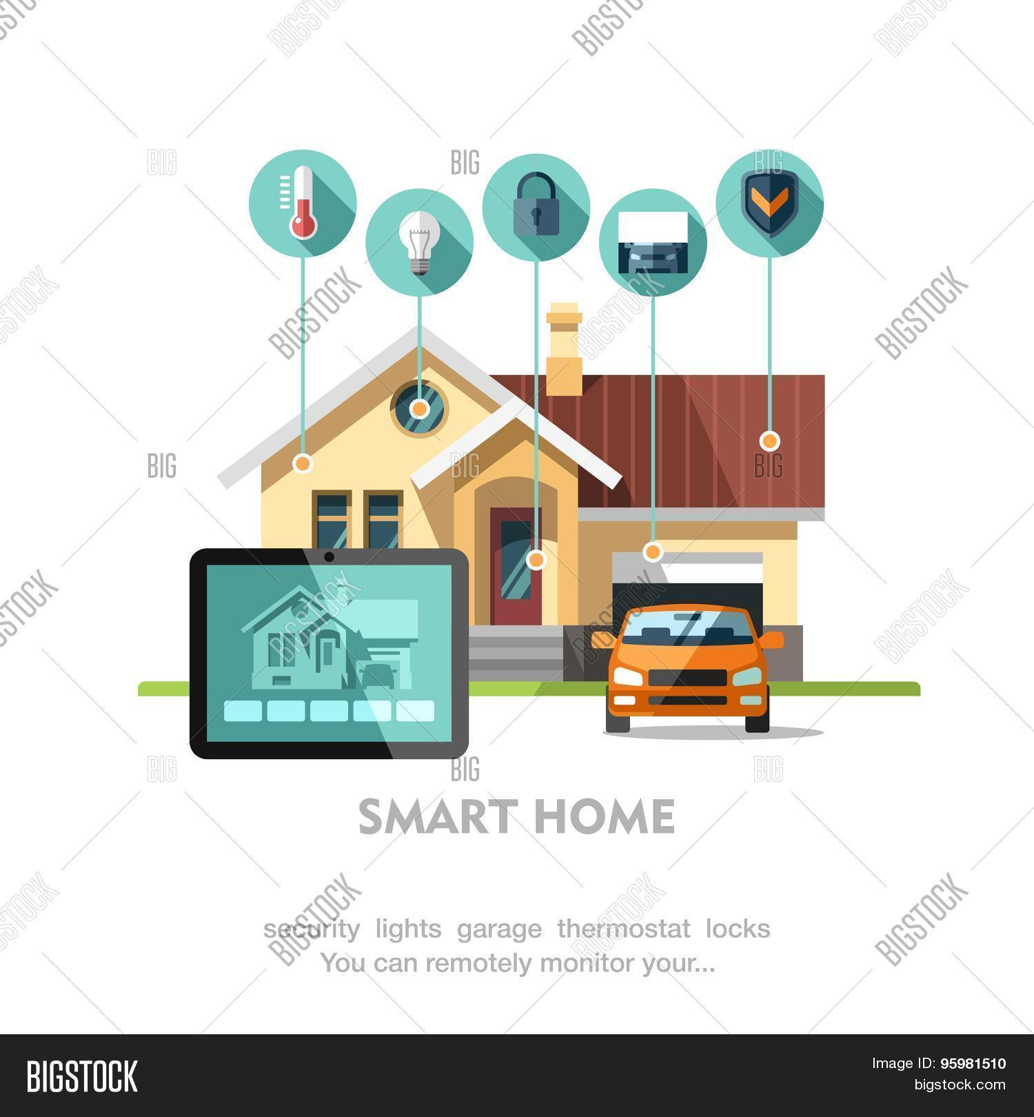 smart home concept of smart house stock vector stock photos bigstock. Black Bedroom Furniture Sets. Home Design Ideas