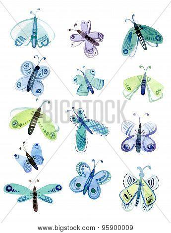Watercolor set of moths