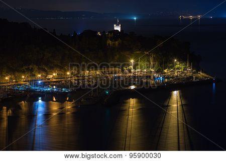 Trieste harbor at night