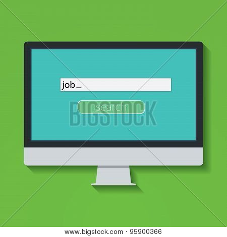 Flat Design Vector Illustration Concept For Online Job Search On Computer