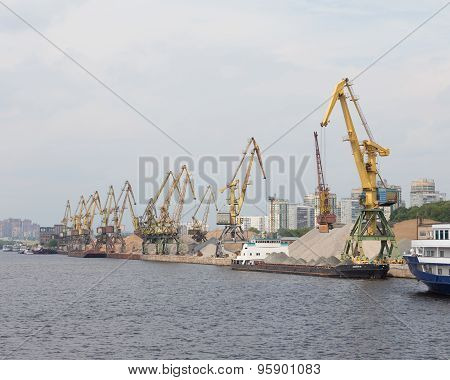 Port Cranes Loaded Barges