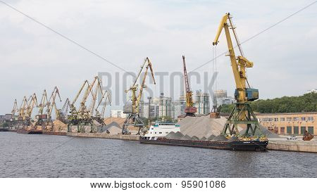Port Cranes Loaded Gravel Barge
