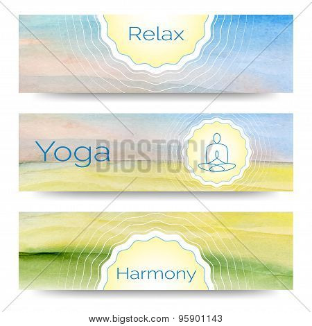 Professional banner templates or banner design for yoga studio,  yoga website, yoga magazine, publi