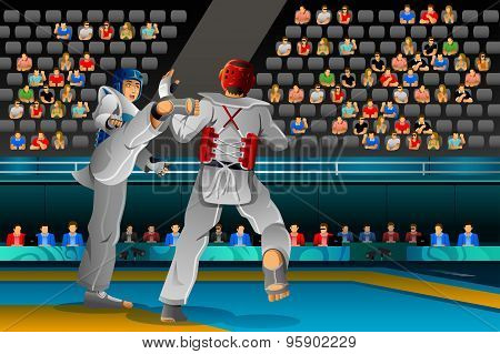 Men Competing In A Taekwondo Competition