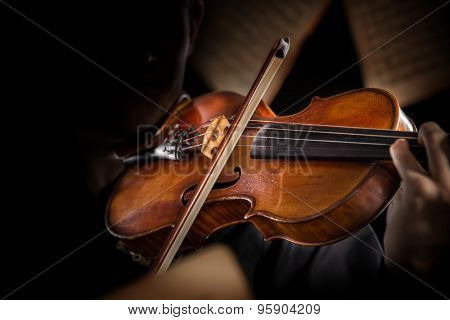 violin in vintage style on dark background