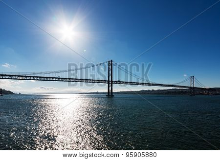 25 De Abril Cable-stayed Bridge Over Tagus River