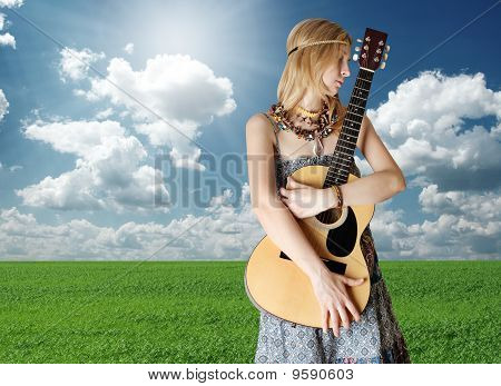Hippie Girl With The Guitar Outdoor