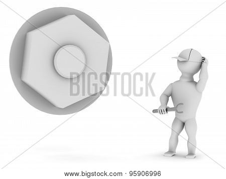 White Man With A Tool Near The Big Nut